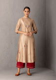 Beige & Maroon Embroidered kurta Set ( YMN-02)