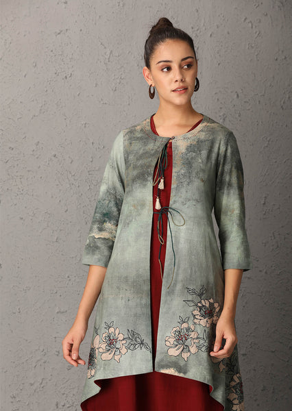 Teal printed jacket (ANT-07) - JUST ADDED