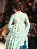 Aqua Embroidered Dress  With Tier Skirt (2 pc) JP-18