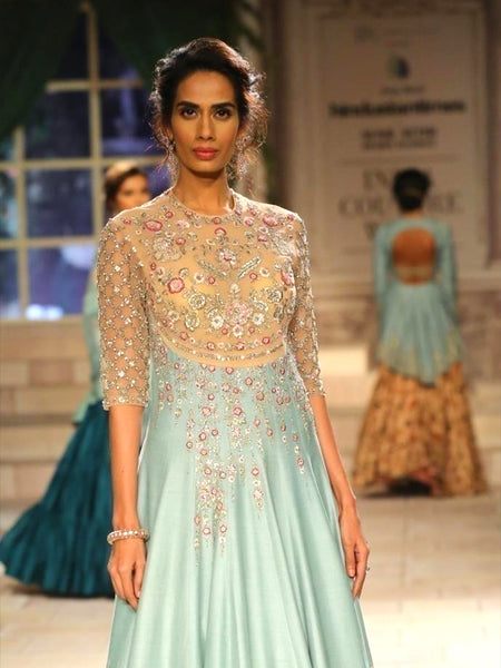 Aqua Embroidered Dress (2 pc) JP-11