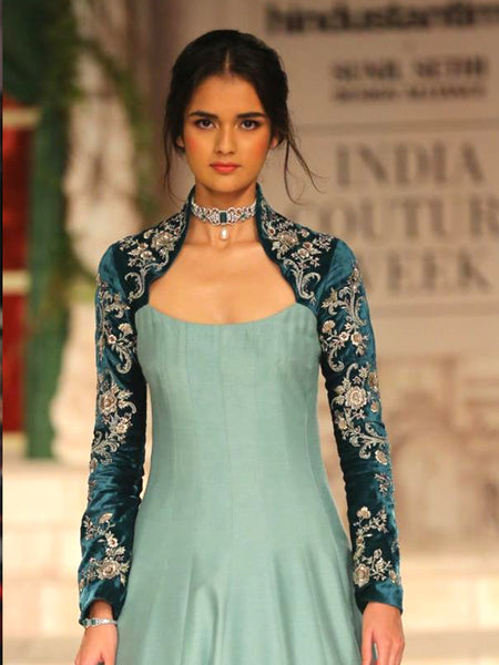 Aqua Embroidered Dress (2 pc) JP-34