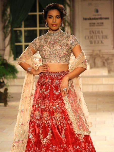 Ruby Velvet Lehenga Set (4 pc) JP-25