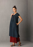Indigo tunic with neck details (IDN-45) JUST ADDED