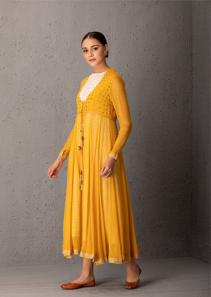 Mustard Anarkali Set With Inner & Pant ( INY - 29 )