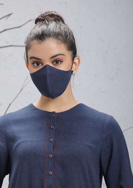 Blue Woolen Mask with stripes (M-09)