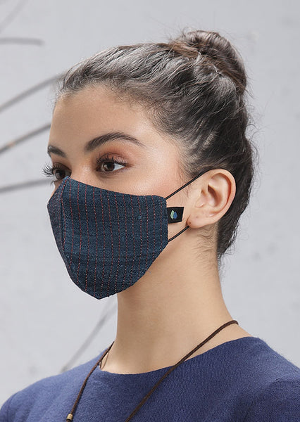 Navy Blue Mask with checks (M-15)