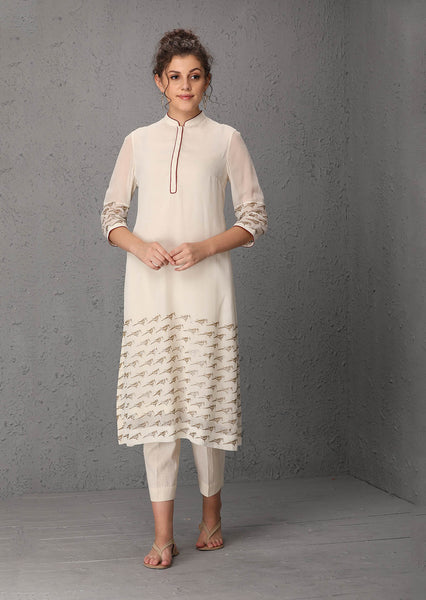 Ivory georgette tunic (PW-54A)  JUST ADDED
