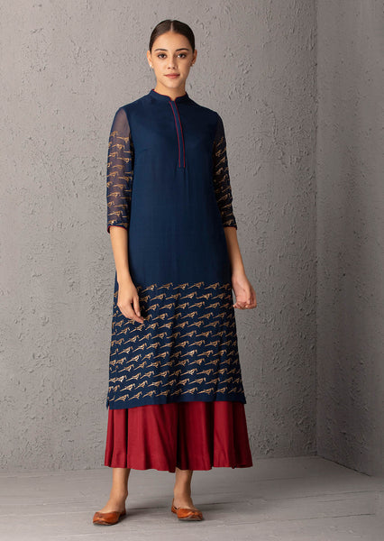 Blue & Maroon Kurta set (PW-54A)