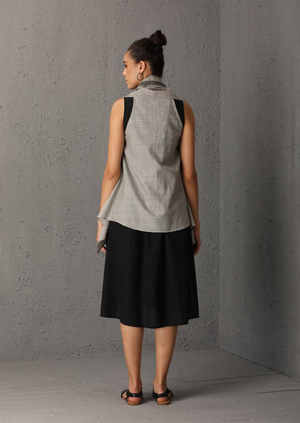 Grey cape with inner and palazzo (SW-36B)
