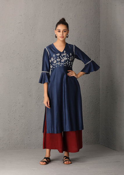 Indigo embroidered tunic  (USW-24A) JUST ADDED