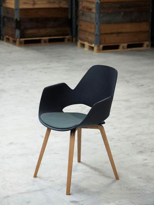 FALK Indoor Dining Armchair with Dark grey Padded Seat - Oiled Oak legs