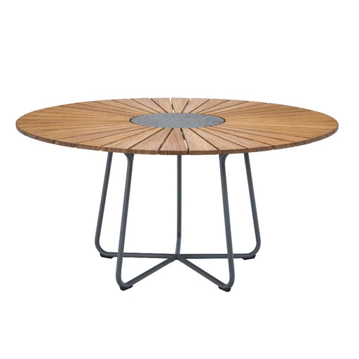 HOUE CIRCLE 150 Dining Table with Bamboo lamellas and Granite centrepiece