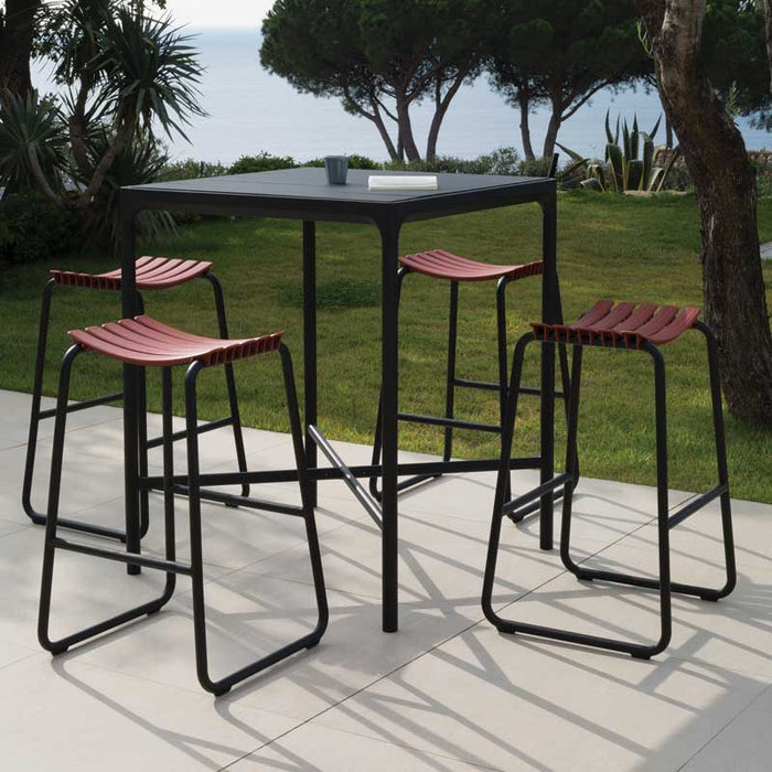 HOUE FOUR Bar Leaner Table 90x90 Black Metal Top & Frame with CLIPS Stools