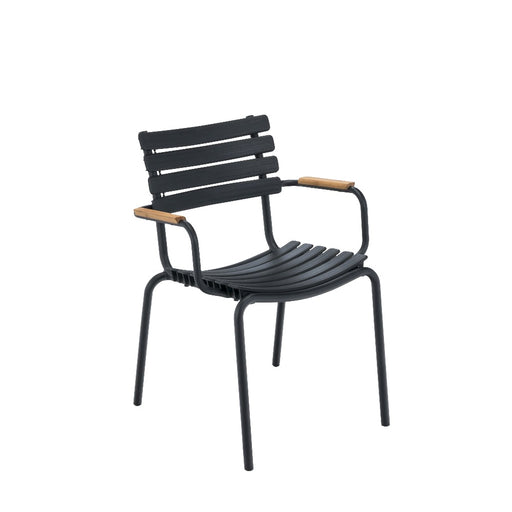 CLIPS Dining Chair - Black Frame with Bamboo Armrest & Black Lamellas