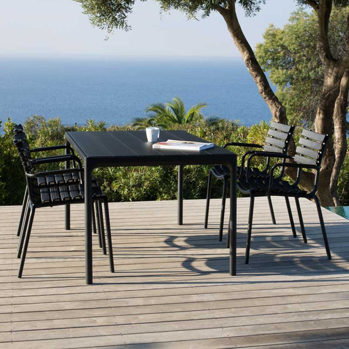 HOUE FOUR Table 160x90 Black Aluminium Top & Frame with CLIPS Dining Chairs