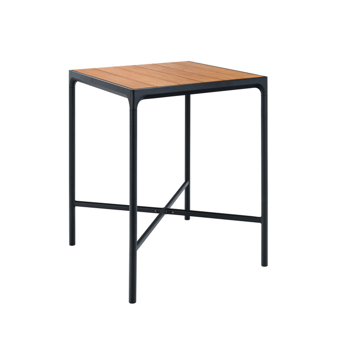 FOUR Bar Leaner Table 90x90 Bamboo Top / Black Frame