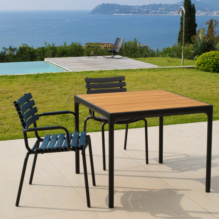 FOUR Indoor/Outdoor Table 90x90 Bamboo Top / Black Frame