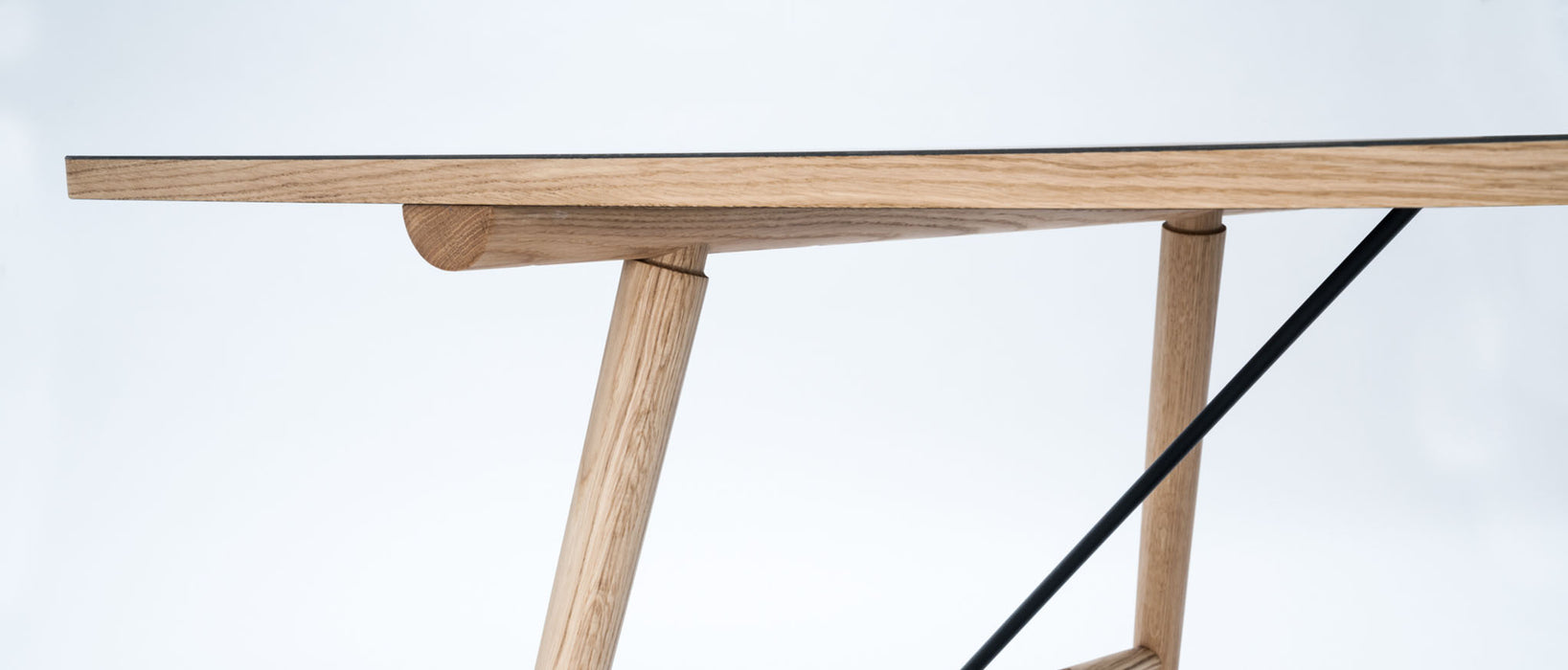 HEKLA Dining Table 208x95cm // Black Linoleum Top - Solid Oiled Oak Legs