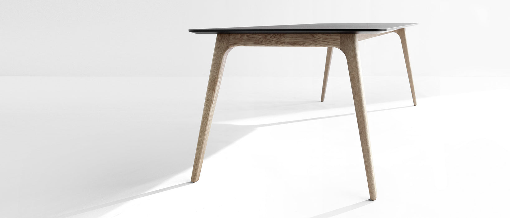 GATE Dining Table 208cm // Black Linoleum, Black Edge - Black Ash Legs