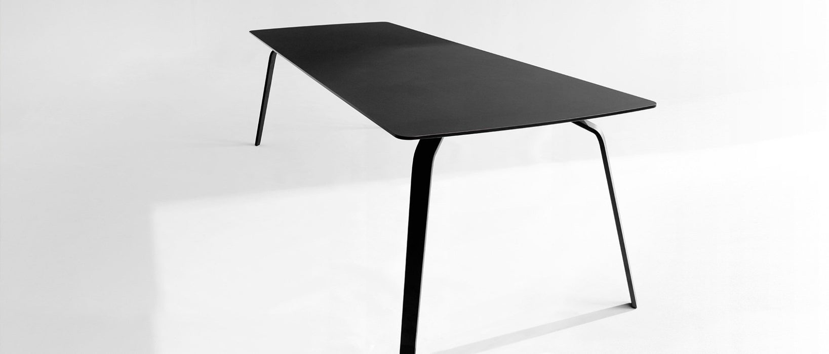 FLOAT Indoor Dining Table 208cm // Black Linoleum Top, Black Metal Legs