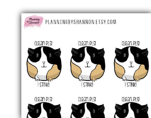 Guinea Pig Cage Cleaning Planner Stickers