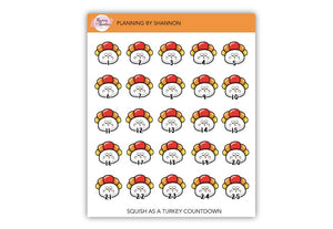 Turkey Countdown Planner Stickers