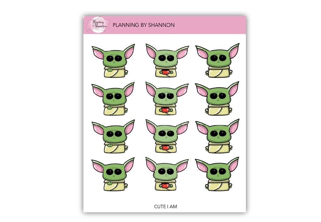 Cute Green Thing Planner Stickers