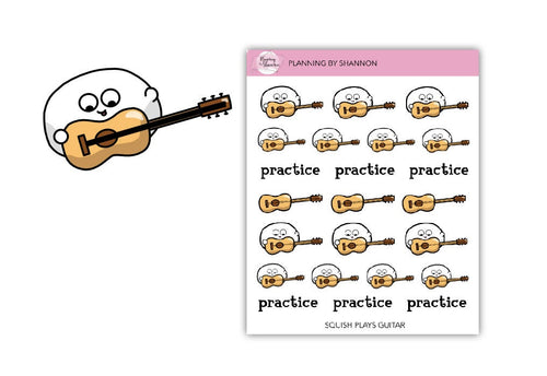 Squish the Blob Plays Guitar Planner Stickers