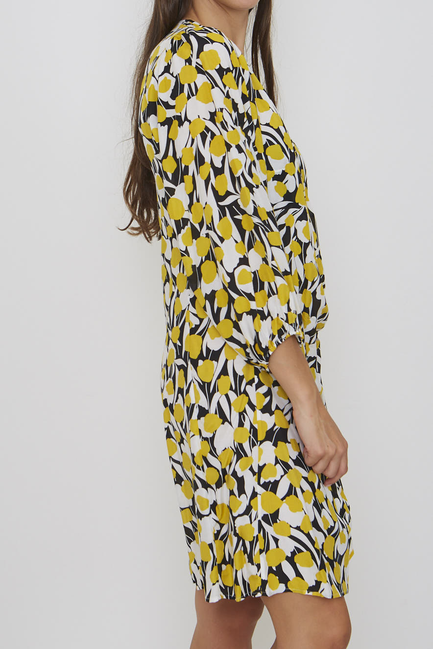 Rixo Yellow Floral Print Dress - Size Medium
