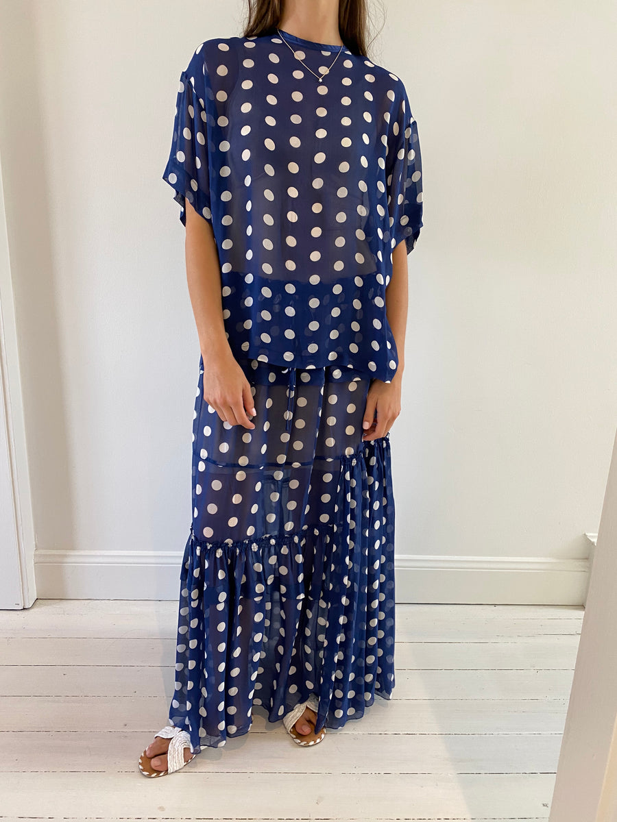 Lee Matthews Blue Polka Skirt - Size 4