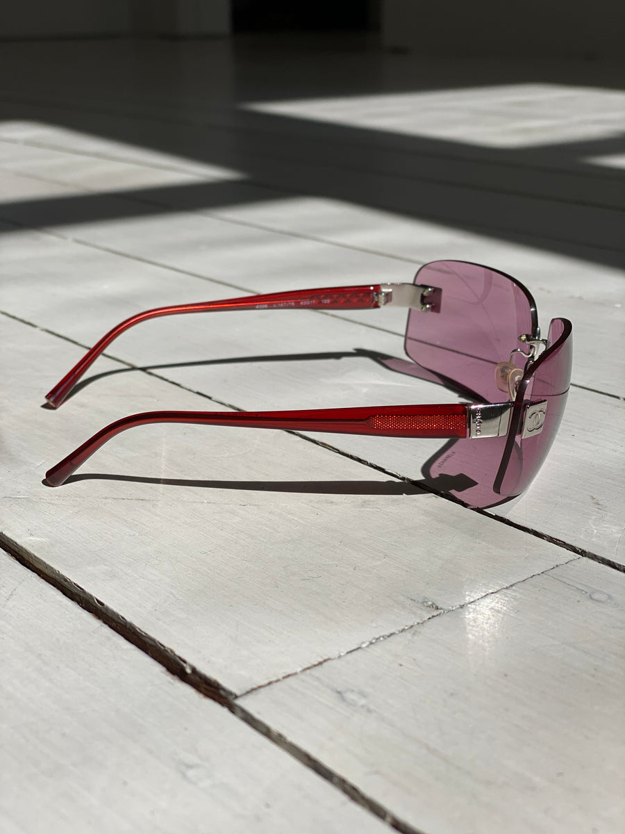 Chanel Pink Rimless Sunglasses