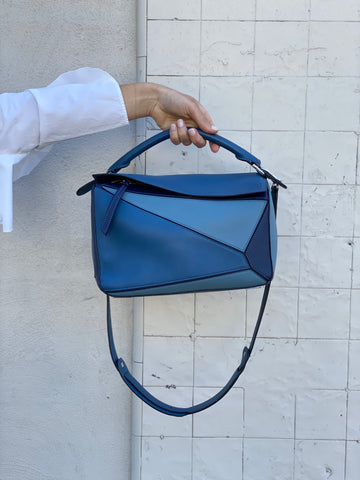 Loewe Blue Leather Puzzle Bag
