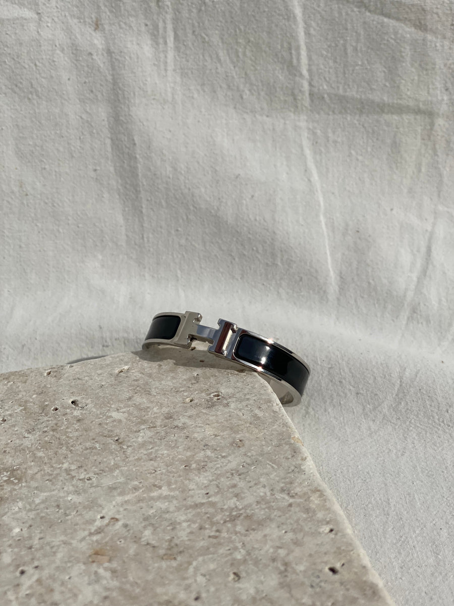 Hermes Narrow Bracelet Black/Silver