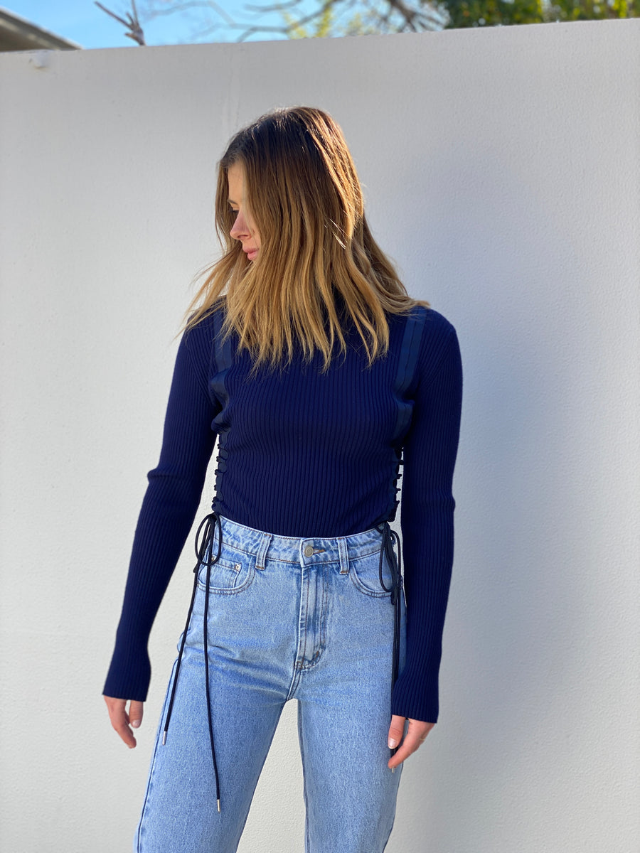 Dion Lee Navy Rib Jumper - Small