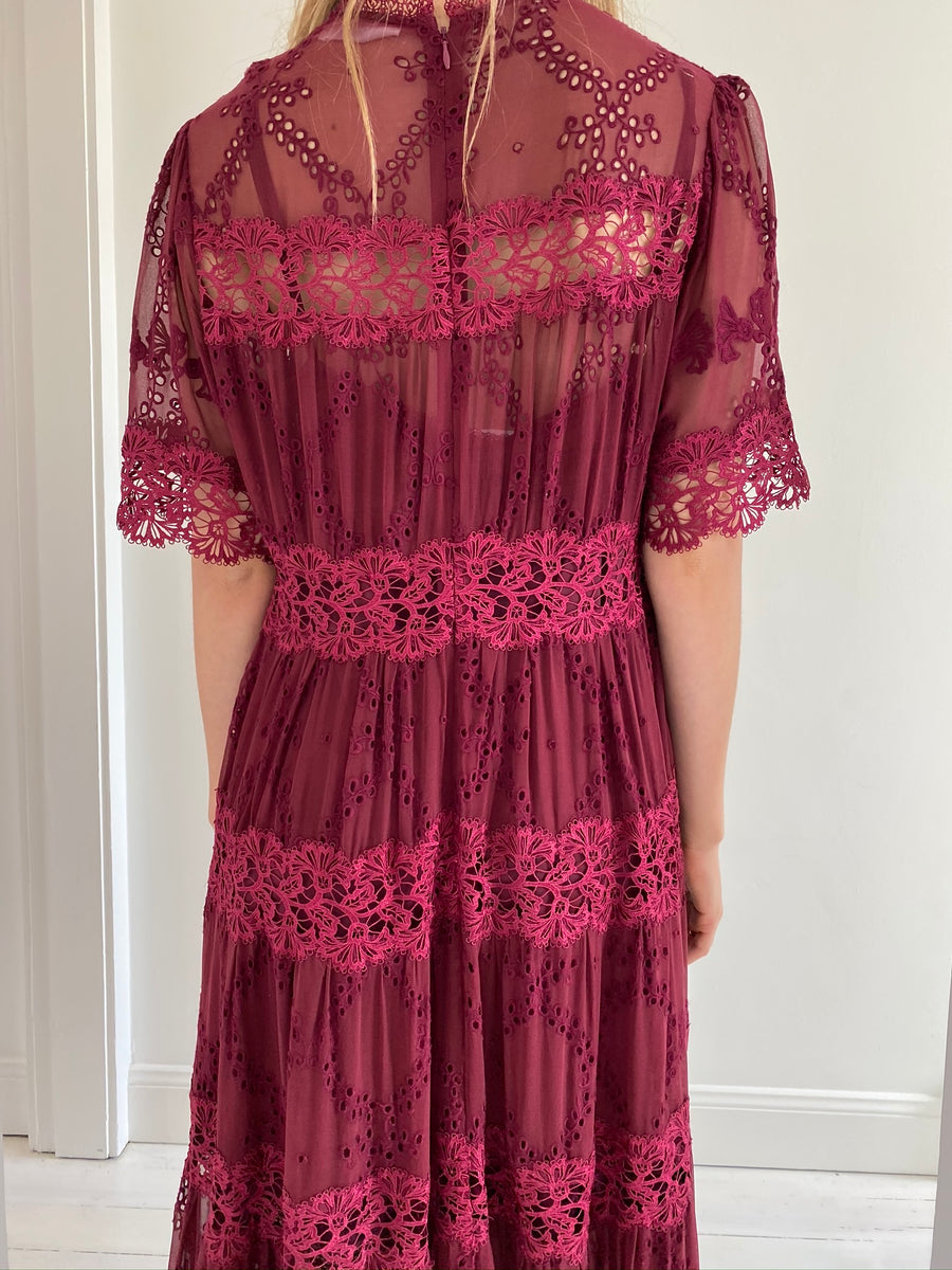 Zimmermann Burgundy Short Sleeve Lace Dress - Size 3