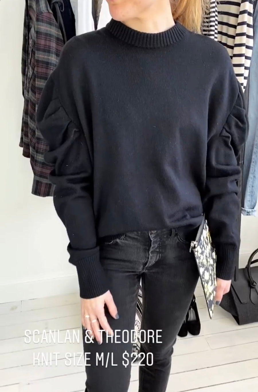Scanlan Theodore Black balloon L/S wool jumper