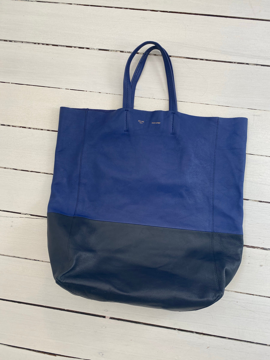 Celine blue two tone leather tote