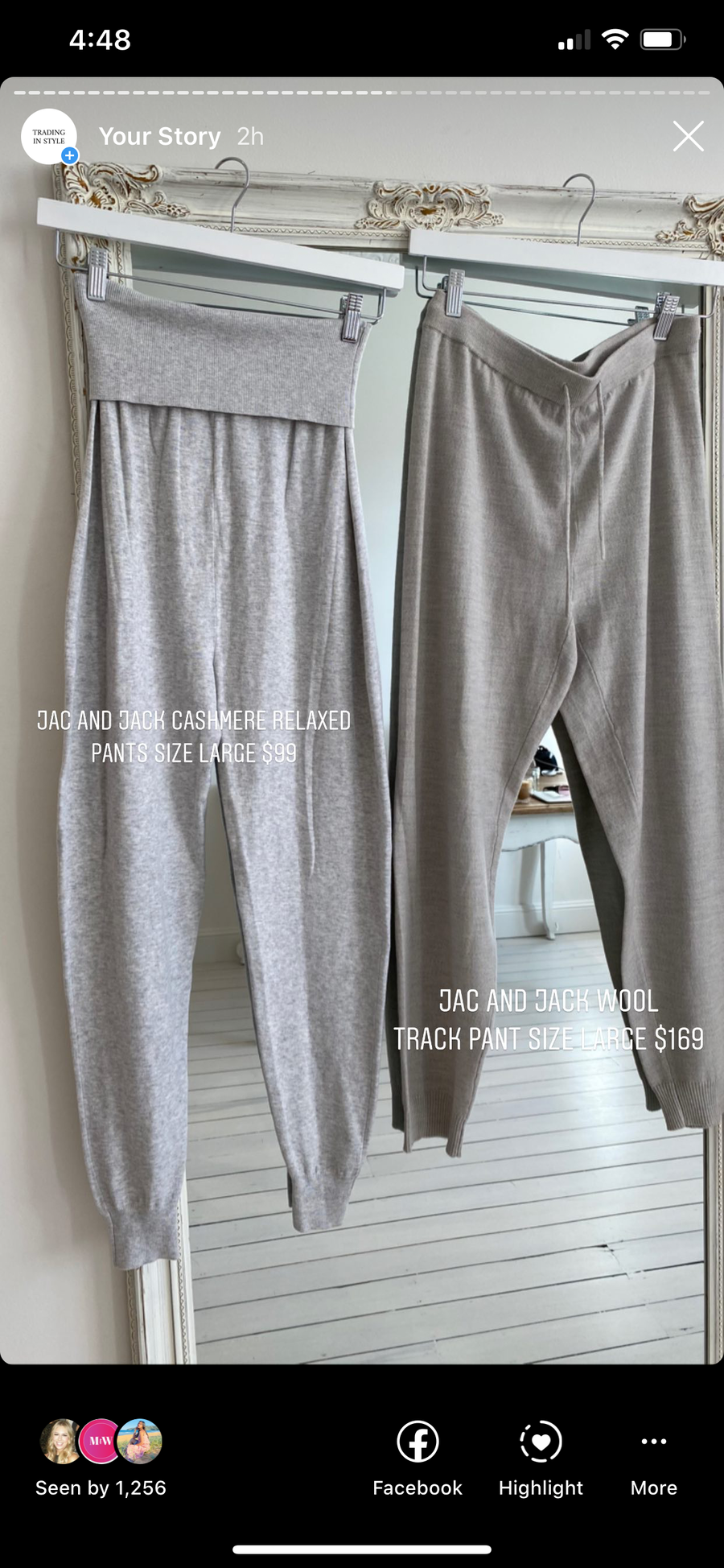 Jac and jack grey cashmere relaxed pants