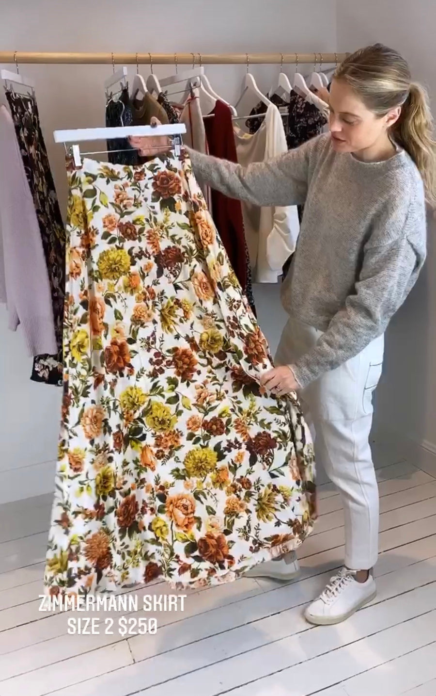 Zimmermann silk floral skirt size 2
