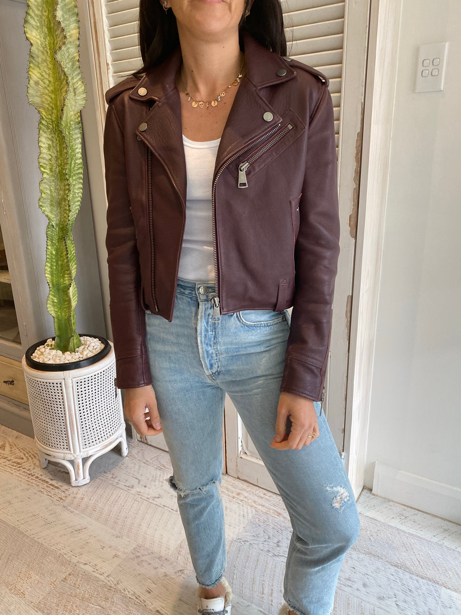 Victoria Beckham burgundy leather jacket