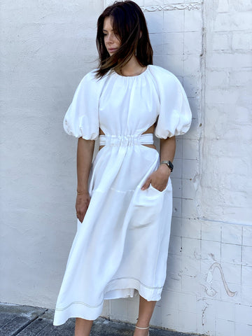 Aje White Puff Sleeve Midi Dress - 8