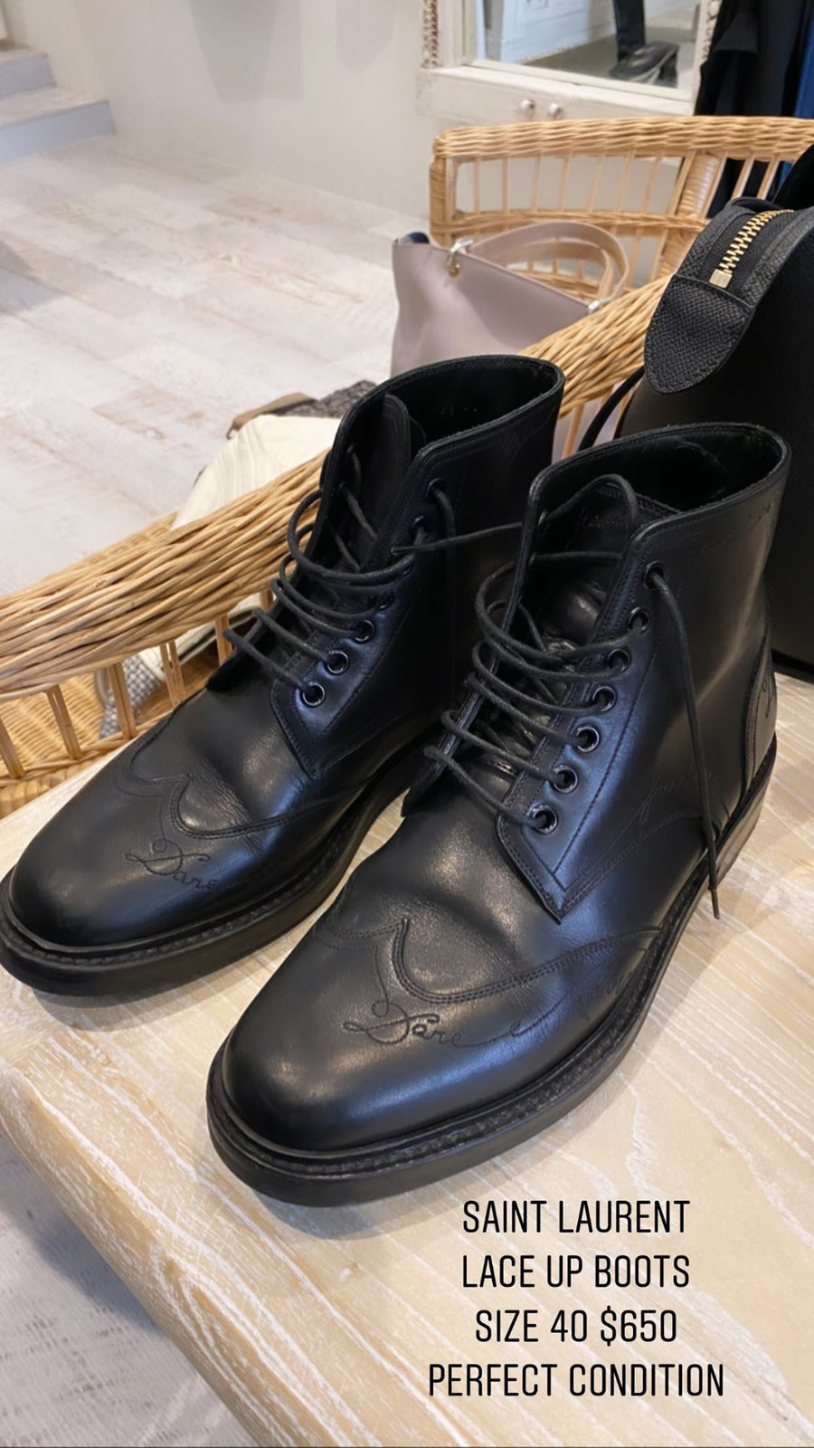 Saint Laurent lace up black boots size 40