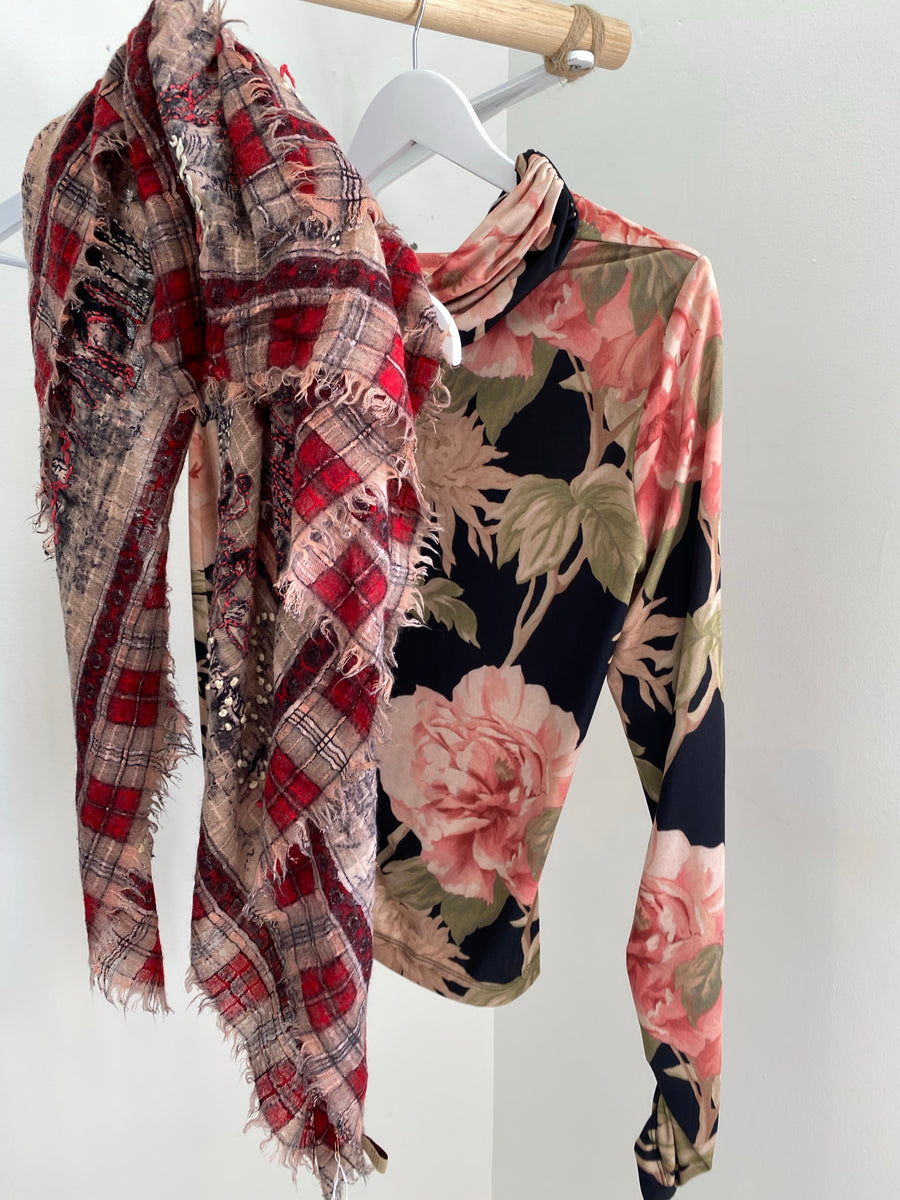 SETE scarf and Zimmermann floral blouse TO SEND WITH BURBERRY