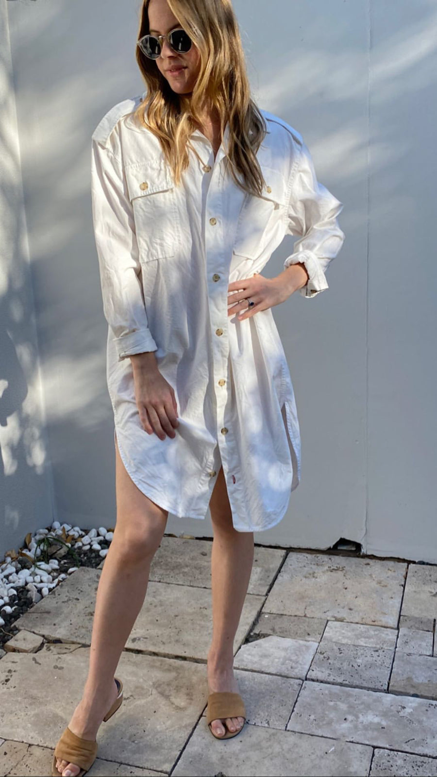 Bassike white shirt dress size 1