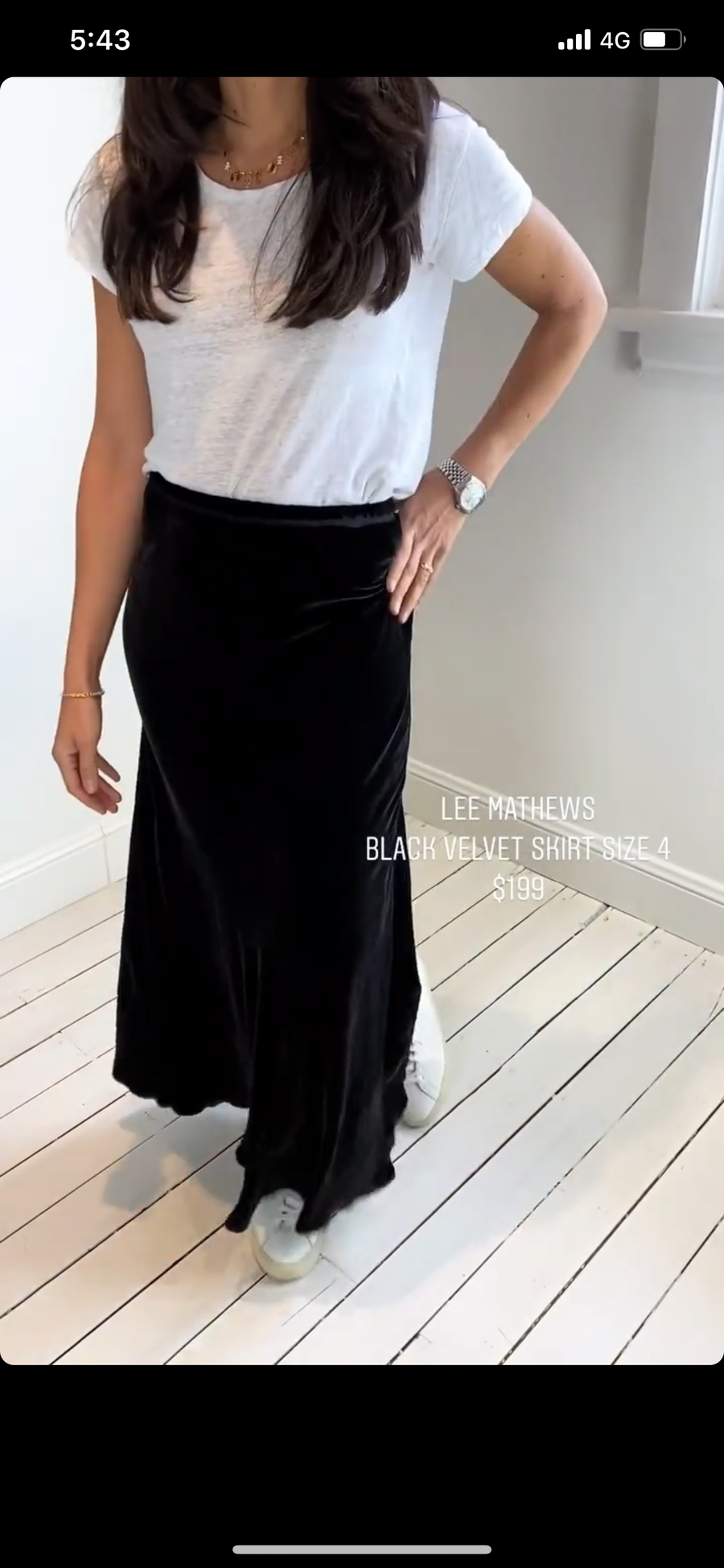 Lee Mathews black velvet skirt