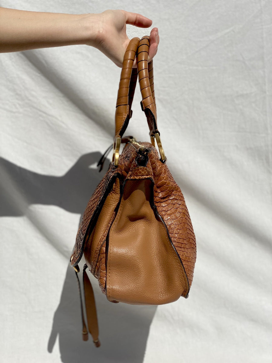 Chloe Brown Python Marcie Bag