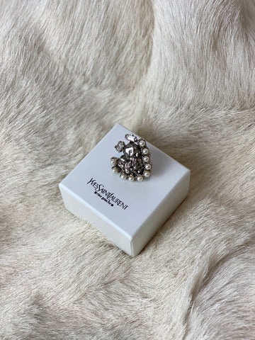 YSL Silver Statement Ring
