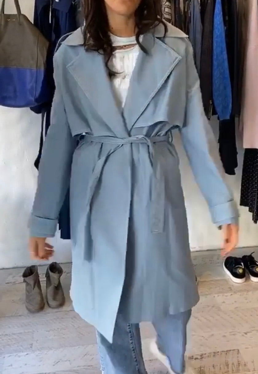 Anna Quan blue trench Size 8 #1545 :$50 Credit