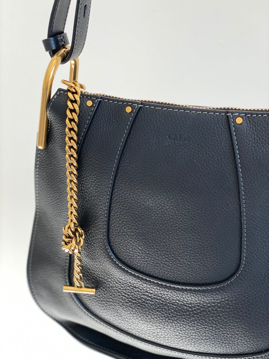 Chloe Black Leather Hayley Hobo Bag