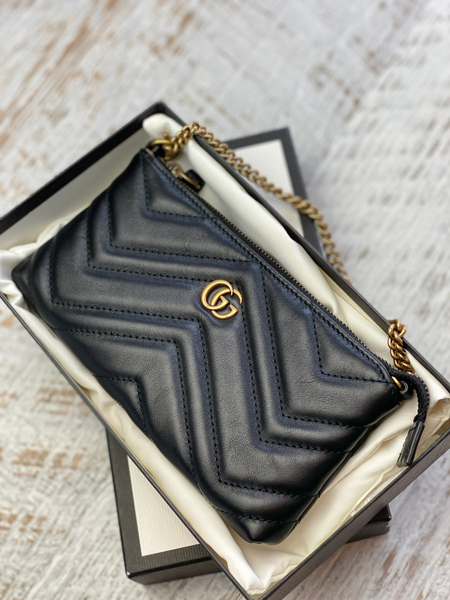 Gucci black quilted pouch